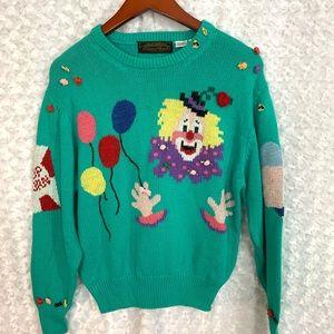 Eddie Bauer Vintage Clown Embellished Sweater
